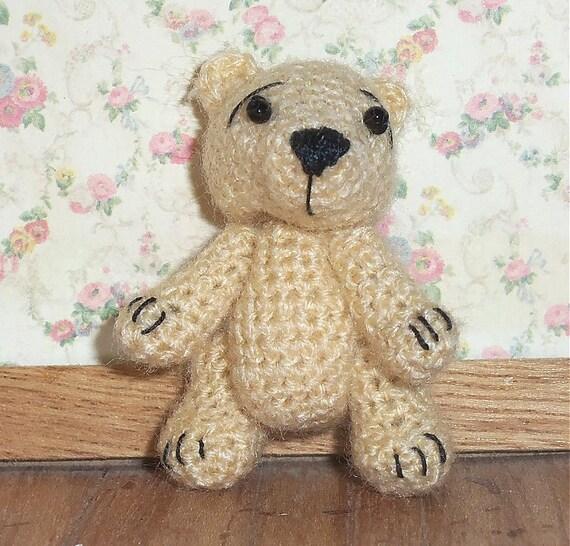 Miniature Teddy Bear Tan Thread Artist Crochet  Ready to Ship
