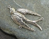 Sweet Vintage Swallow - Sterling Silver Necklace Centerpiece - One Piece - ncpsvs