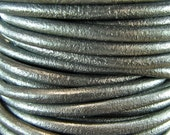Premium Quality Leather Cord - Metallic Pewter 2mm Round Leather Cord - 2 Yards - mp2mm