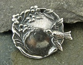 Swallow and Vine - Sterling Vintage Replica Pendant - One Piece - pvisv