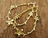 Twig and Blossom - 24K Gold Vermeil Teardrops - One Pair - ctbv