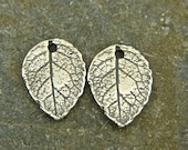 Artisan Sterling Charms - Tiny Natural Rose Leaf - Rustic Artisan Sterling Silver - One Pair - Artisan Sterling Silver Findings - LF1