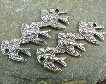 SALE - Trio of Swallows - Sterling Vintage Replica Links - One Pair