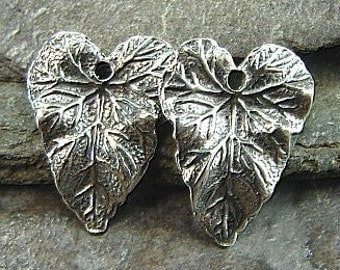 Antherium - Sterling Silver Heart Shaped Leaf Charms - One Pair - Two Pieces - cal