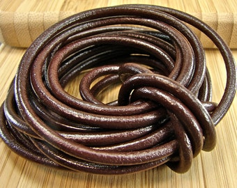 Premium Quality Leather Cord - Chocolate Brown 2mm Round Leather Cord - 2 Yards - c2mm