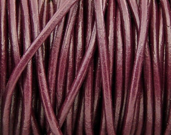 Premium Quality Leather Cord - Cabernet Color - 2mm Round Leather Cord - 2 Yards