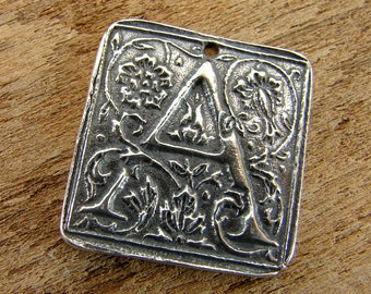 Wax Seal Monogram - Letter A - Rustic Artisan Sterling Silver Square Pendant - One Piece