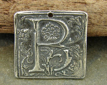Wax Seal Monogram - Letter B - Rustic Artisan Sterling Silver Square Pendant - One Piece