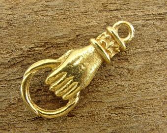 Vintage Inspired 24K Gold Vermeil Hand Holding Ring Charm Holder - phhrv