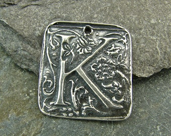 Wax Seal Monogram - Letter K - Rustic Artisan Sterling Silver Square Pendant - One Piece