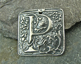 Wax Seal Monogram - Letter P - Rustic Artisan Sterling Silver Square Pendant - One Piece