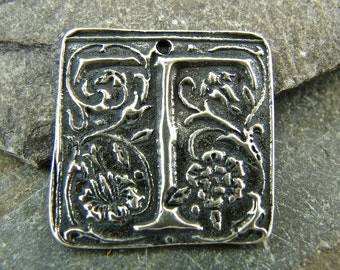 Wax Seal Monogram - Letter T - Rustic Artisan Sterling Silver Square Pendant - One Piece