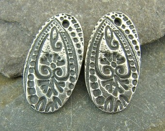 Floral Paisley - Artisan Sterling Silver Oval Charms With Intricate Texture - One Pair - Artisan Sterling Silver Findings - cfp