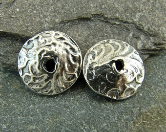Artisan Tapestry Texture Sterling Silver Bead Caps - 10mm - One Pair - Artisan Sterling Silver Findings - bctt