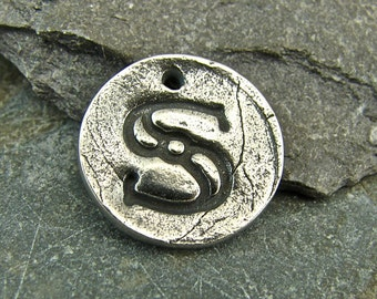 Antique Font Monogram Initial - Letter S - Rustic Artisan Charm or Petite Pendant - Artisan Sterling Findings - Artisan Sterling Charms