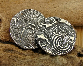Koi Pond and  Ocean Waves - Reversible Artisan Sterling Silver Pendant  - One Piece