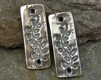 Vine on A Rectangle - Artisan Sterling Silver Links - One Pair - lvr