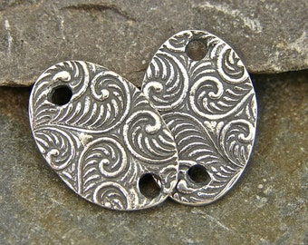 Spiraling Vine Ovals - Artisan Sterling Silver Links - One Pair - lsvo