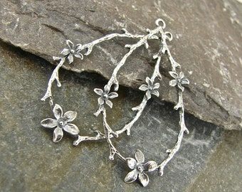 Sterling Silver Charms - Twig and Blossom - Sterling Silver Teardrops - One Pair - ctab