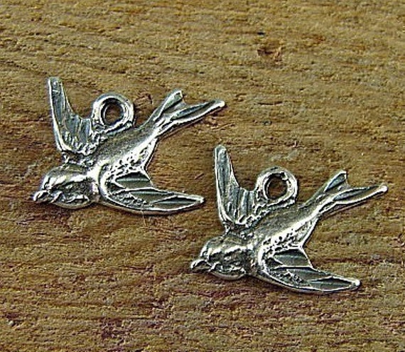 Soaring Swallows - Sterling Swallow Charms - One Pair - Two Pieces