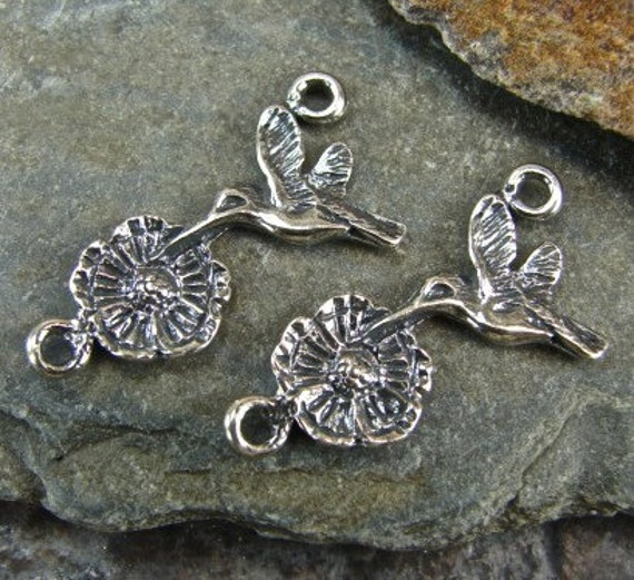 Hummingbird and Blossom - Artisan Sterling Silver Links - One Pair