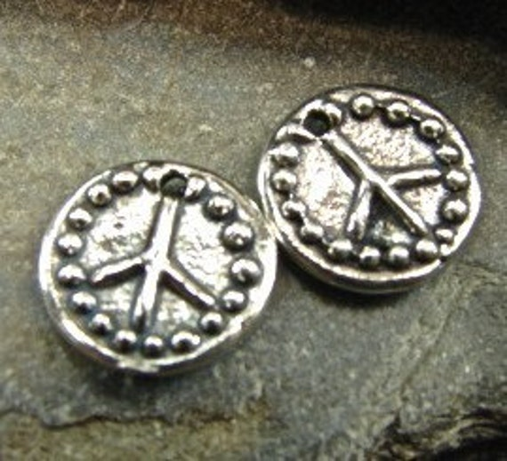Tiny Rustic Peace Symbols - Artisan Sterling Silver Disk Charms - One Pair - Two Pieces