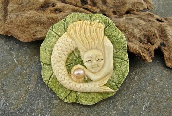 Siren - Hand Carved Bone and Pearl Mermaid Pendant