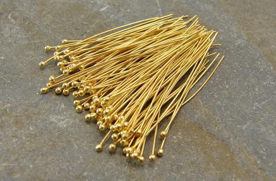 Handmade Ball End 24K Gold Vermeil Headpins - 27 Gauge - 30mm - 100 Pieces