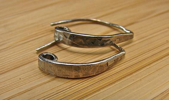 Rustic Artisan Textured Sterling Silver Teardrop Ear Wires - One Pair - ewart