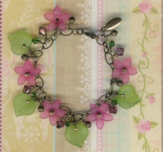 Closing Sale-Lovely Lucite Flowers and Leaves Charm Chain Bracelet-Pink and Green