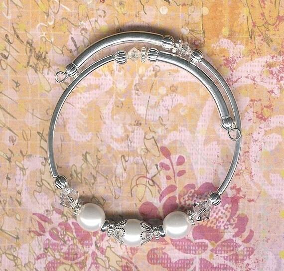 5.00 sale-Flower Girl Size-Wedding White Pearl and Austrian Swarovski Crystal Bangle Bracelet