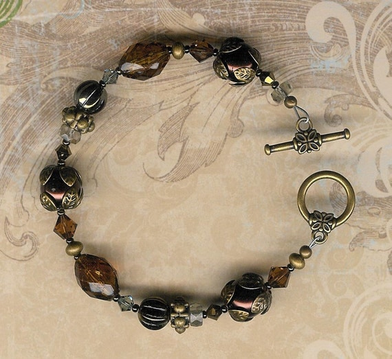 50% Off Clearance Sale-Antique Chocolate Brown Pearls and Swarovski Austrian Crystal Je t'aime Bracelet