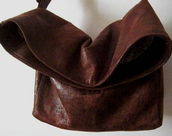 Best Seller Bag, Crossbody Bag in Dark Brown Faux Suede, Vegan Bag, Vegan Crossbody Bag