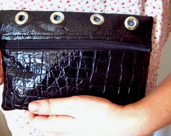 Wetlook Black Clutch with Silver Grommets, Faux Crocodile Purse, Faux Leather Clutch