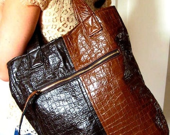 READY TO SHIP Vegan Bag Tote Bag in Faux Crocodile, Lightweight Faux Leather Bag
