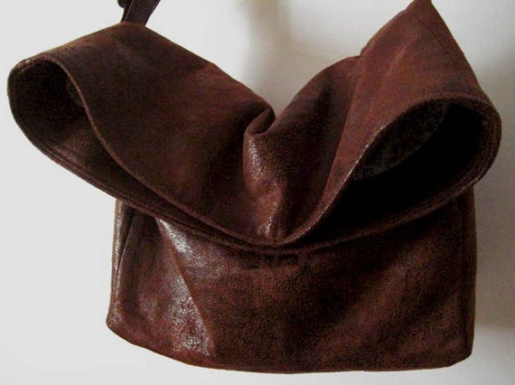 Vegan Crossbody Bag in Dark Brown Faux Suede, Vegan Suede Bag, Foldover Crossbody Bag