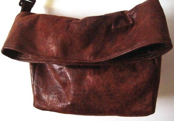 Best Seller Bag, Crossbody Bag in Dark Brown Faux Suede, Vegan Suede Bag, Foldover Crossbody Bag