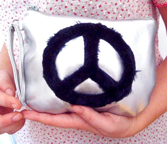 Vegan Leather Purse in Silver, Vegan Bag with Peace Sign, Vegan Wristlet Clutch