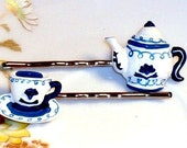 Tea Cup and Tea Pot Hair Pins Hair Bobbies, Blue and White