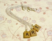Scrabble Tile Initial Letter Necklace, Personalized Jewelry