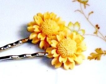 Flower Hair Pins, Bobby Pins, Orange Peach, Upcycled