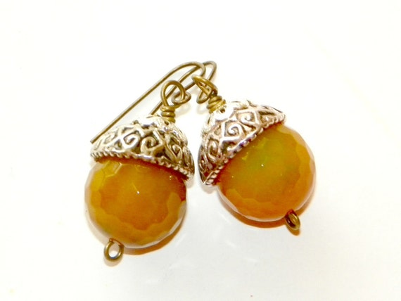 Beaded Acorn Earrings, Yellow Jade, Silver and Antique Brass