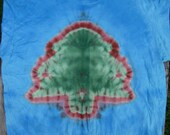 Christmas Tree on Blue Tie Dye T-Shirt (Fruit of the Loom Size YOUTH 2XL) (One of a Kind) (On Sale)