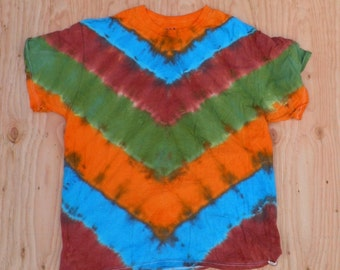 Mother Earth V-Stripe Tie Dye T-Shirt (Fruit of the Loom Size XL) (One of a Kind)