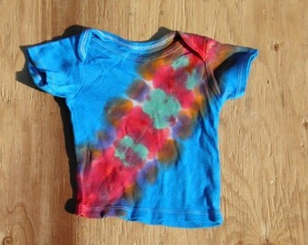 Blue and Rainbow Bandolier Tie Dye Baby T-Shirt (Gerber Size 6-9 Months) (One of a Kind) (On Sale)