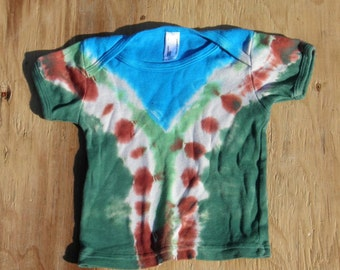 Green, Blue and Rust Brown Tie Dye Baby T-Shirt (American Apparel Organic Cotton 6-12 Months) (One of a Kind)