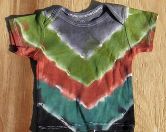 Camouflage V-Stripe Tie Dye Baby T-Shirt (Gerber Size 6-9 Months) (One of a Kind)