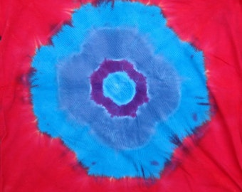 Tie Dye Cotton Jersey Tube Scarf  (Bright Red with Blue and Purple Galactic Explosion)