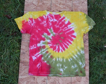 Rastaman Spiral Tie Dye T-Shirt (Size S) (Hemp Shirt) (One of a Kind)
