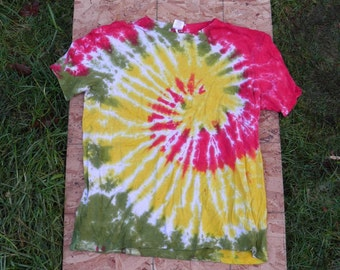 Red, Gold and Green Spiral Tie Dye T-Shirt (Size XL) (Hemp Shirt) (One of a Kind)